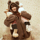 Cute Fashion Womens Girl Winter Warm Teddy Bear Ear Outerwear Coat Hoodie Jacket