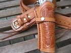 Cartridge Gun Belt Combo - .45 Cal Tooled Holster- Leather-Natural- Specify Size