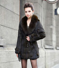 Classic Style Real Rabbit Fur Slim Long Coat With Large Collar Womens Jacket New