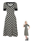 CHEKERED ROCKABILLY BLACK WHITE DRESS RETRO 50s PIN UP EVENING PARTY SWING 8-14
