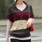 Fashion Women Loose Batwing Sleeve V Neck Striped Pullover Short Knitted Sweater