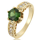 ~~ 7mm Green Fine Emerald Topaz 18K Yellow Gold Plated Round Cut Ring Size M O Q