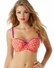 Brand New Cleo by Panache Meg Balconette Bra 6751 Coral Spot Various Sizes