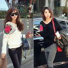 Women Fashion Shoulder Hollow Rose Crochet Loose Jumper Pullover Sweater Tops
