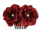 Silk Rose Flower Hair Comb with Pearl Wedding Bridal Choose color