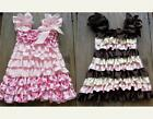 GIRLS FRILLY SATIN DRESS PARTY DRESS VINTAGE STYLE 6M-5Y