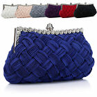 Fashion Women Bridal Plaited Rhinestone Clutch Chain Party Shoulder Evening Bag