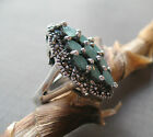 ENCHANTING EMERALD RING!!! GORGEOUS MARCASITE & EMERALD GEMSTONE SILVER RING
