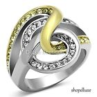 WOMEN'S TWO TONE 14K GP STAINLESS STEEL WIDE BAND CRYSTAL FASHION RING SIZE 5-10