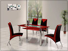 ROVIGO LARGE GLASS CHROME DINING ROOM TABLE AND 6 CHAIRS SET-135 cm - IJ614-818L