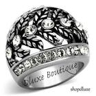 WOMEN'S CRYSTAL SILVER STAINLESS STEEL ANTIQUE DOME FASHION RING SIZE 5-10