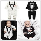 Baby Boy Wedding Christening Formal Tuxedo Bow Tie Suit 1PC Romper Outfit 0-36M