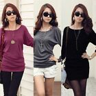 New Women's Round Collar Long Sleeve Batwing Loose T-Shirt  Casual Blouse Tops