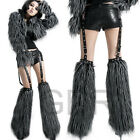 PUNK NEW! ROCK SHORT PANTS +FAUX FUR LEG WARMER K147 GRAY S-L