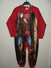 BOYS AVENGERS IRON MAN RED FLEECE ALL IN ONE PYJAMAS SLEEPSUIT ONESIE  2 3 4 5