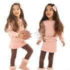 Girls Kids Pink Leopard Top Shirt+Culottes Skirt Leggings 2pcs Set Outfit 2-7Y