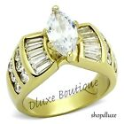 WOMEN'S MARQUISE CUT CZ 14K GOLD PLATED STAINLESS STEEL ENGAGEMENT RING SZ 5-10