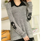 2PCS New Women's Loose Long Sleeve Skull Pull Over Knitted Sweater Lapel Blouse