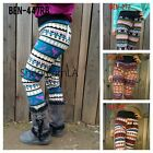Aztec Nordic Chevron Print High Waist Soft Knitted Leggings Tights Pants BEN