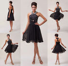New Luxury Halter Pleated Black Chiffon Ball Cocktail Evening Prom Party Dresses