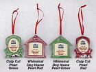 Dog House Cozy Cat Christmas Holiday FRAME ORNAMENT Xmas Pet Picture RED GREEN