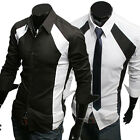Black White Luxury Men's Slim Fit Patched Formal Casual Dress Shirts In S M L XL