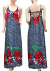 Womens Red Blue White Floral Print Summer Maxi Dress Kaftan Size 10 12 16 New