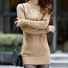 New Womens Slim Pullover Turtle Neck/Crewneck Mini Dress Thick Warm Knit Sweater