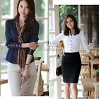 OL Womens Lady Long Sleeve ItS7 Lapel V Neck Button Shirt Blouse Tops Slim S-XXL