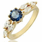 Lady Fashion Jewelry Blue Sapphire White Gold Gp Ring Jewellery Nr Size M O Q