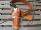 """Gun Belt Combo - 8"""" to 10"""" Tooled Holster - Natural - Leather - Sizes 32"""" to 52"""""""
