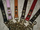 LEATHER DOG CHAIN LEAD BRASS EXTRA HEAVY STAFF STAFFIE PINK,RED,TAN, BLACK