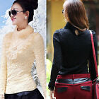 Women's Long-sleeve Turtle-neck Top with Lace Detail for Spring & Autumn Wear