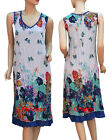 Butterfly Floral Print Summer Tunic Dress Blue White Crinkle Chiffon Size 14 16