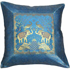 "INDIAN 17"" 43cm Cushion Covers Blue Banarasi Elephant Peacock Scatter Sofa NEW"