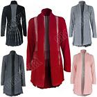 New Ladies Womens Chunky Crochet Knit Knitted Long Open Cardigan Size S M L XL