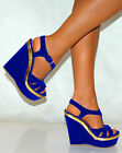 Women Cobalt Platforms Gold Bright Blue Peep Toe Wedges High Heels Shoe Strappy