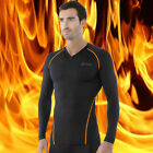 [Tesla] Mens Compression HOTGEAR Black Base Layer Thermal V-Neck Shirts V24BO