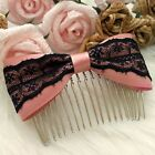 Small Cute Handmade Pink Silk Satin Ribbon Black Lace Bow Hair Comb Clip Band