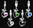Silver Plated Rhinestone Apple Dangle Clip On Charm Bead Fit Link Chain Bracelet