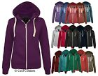 LADIES PLAIN ZIP HOODIE SWEATSHIRT FLEECE HOODED JACKET WOMENS PLUS SIZES 16-20