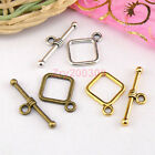 100Sets Tibetan Silver,Antiqued Gold,Bronze Square Connector Toggle Clasps M1412