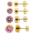 9 carat Gold Pink Cubic Zirconia Stud Earrings 4mm - 7mm