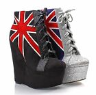 UK Flag Party Dress Sexy Platforms Wedges Womens Shoes High Heels Boots Pumps