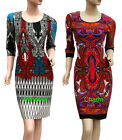 Womans 3/4 Sleeve Midi Day Dress Paisley/Geometric Print Size 8 10 12 14 16 New