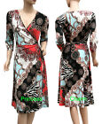 Paisley Floral Print Wrap Dress Black White Blue Pink Khaki Size 10 12 14 16 18