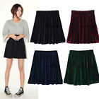 Women Velvet High Waist Stretch Pleated Jersey Plain Skater Flared Mini Skirt pw