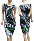 Geometric Print Pencil Dress Black Brown Grey Size 10 12 14 16 18 New Pleated