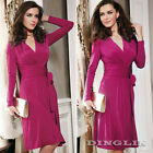 New Fashion Women Sexy V-Neck Long Sleeve Silk Cocktail Party Evening Wrap Dress