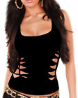 CWG Womans Hand Braided Cut Ripped RacerBack Clubwear Top Vest Shirt Rave Party